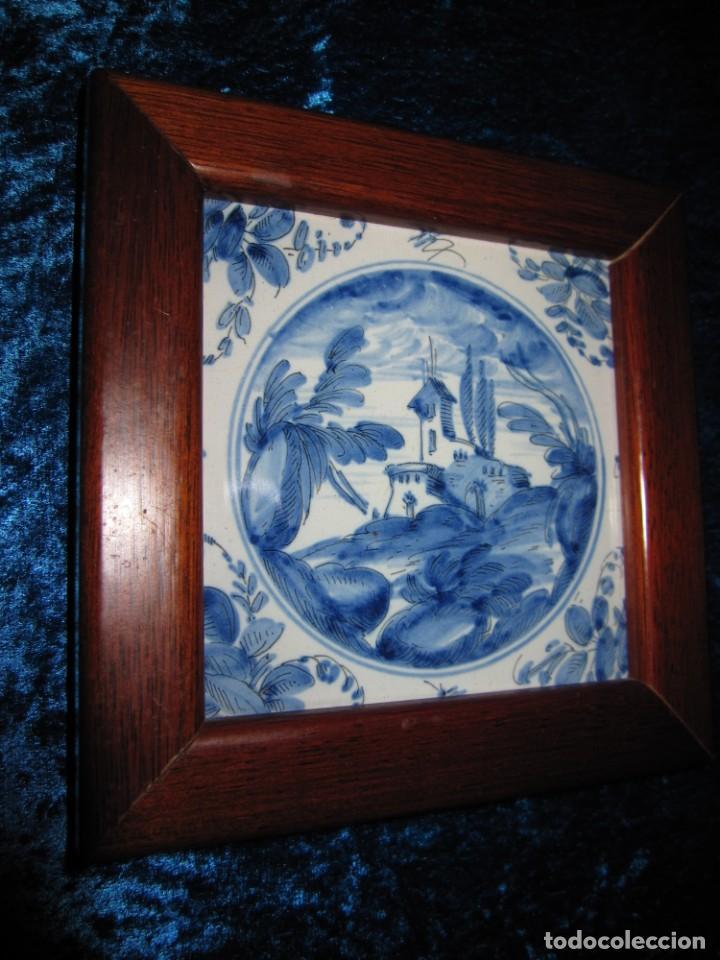Antigüedades: Azulejo enmarcado paisaje blanco y azul - Foto 4 - 225174495