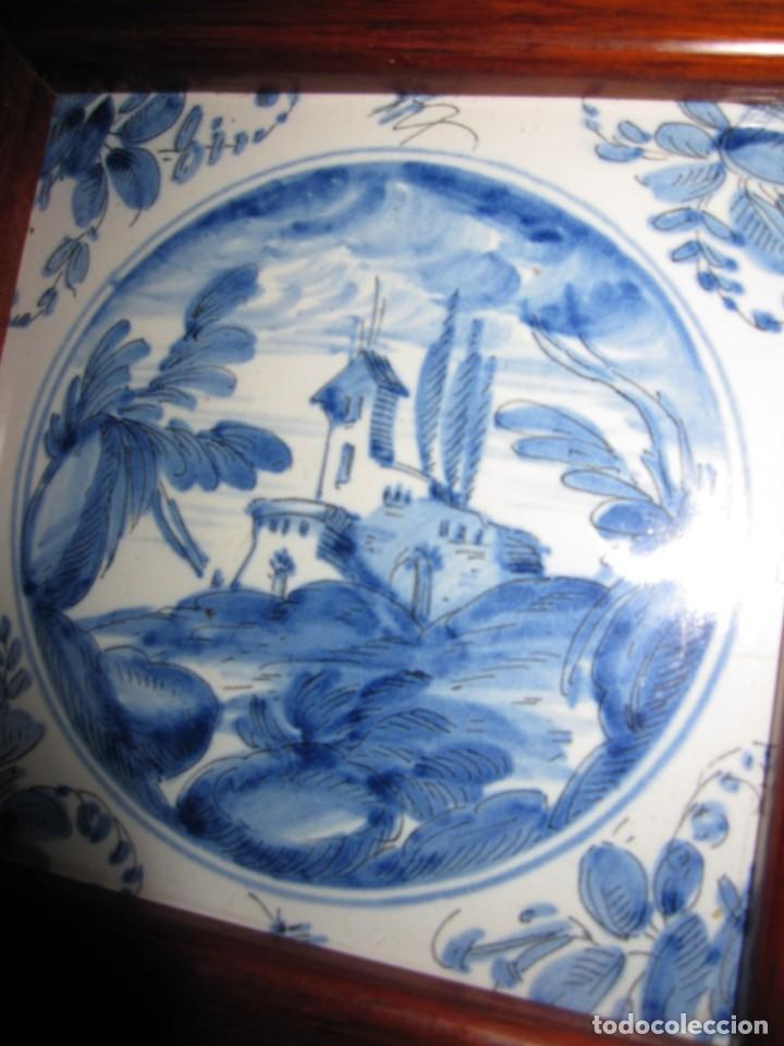 Antigüedades: Azulejo enmarcado paisaje blanco y azul - Foto 5 - 225174495