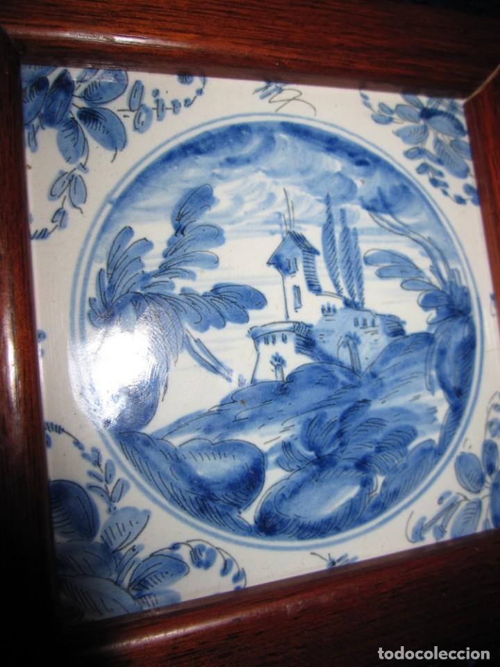 Antigüedades: Azulejo enmarcado paisaje blanco y azul - Foto 6 - 225174495