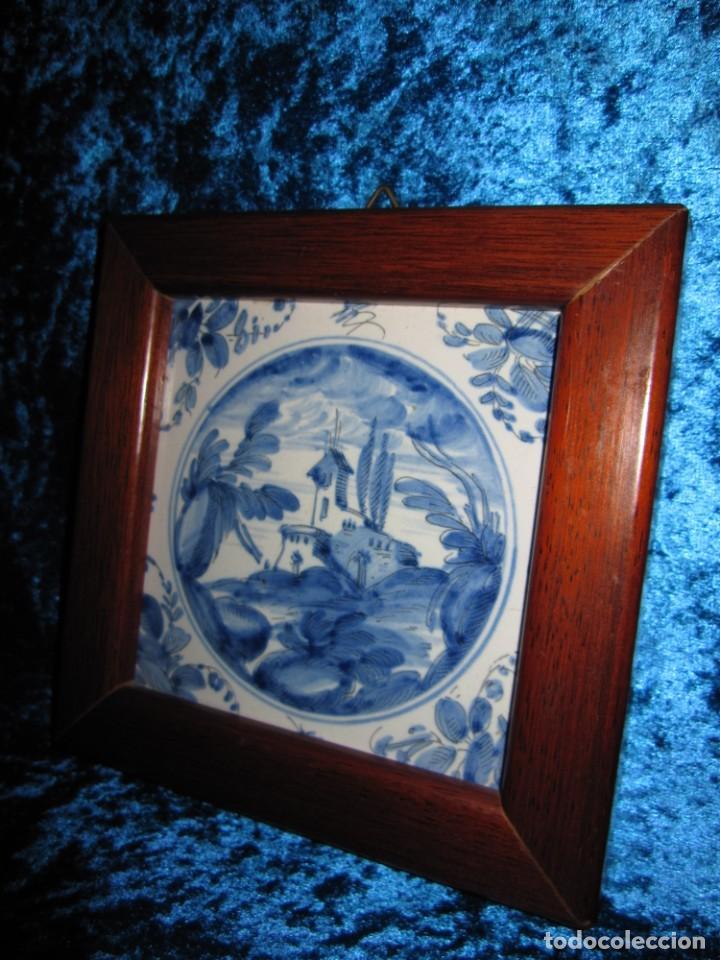 Antigüedades: Azulejo enmarcado paisaje blanco y azul - Foto 8 - 225174495