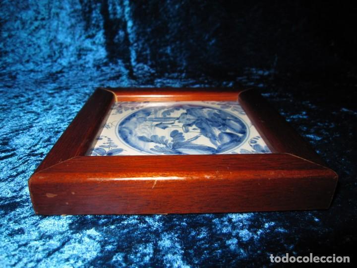 Antigüedades: Azulejo enmarcado paisaje blanco y azul - Foto 10 - 225174495