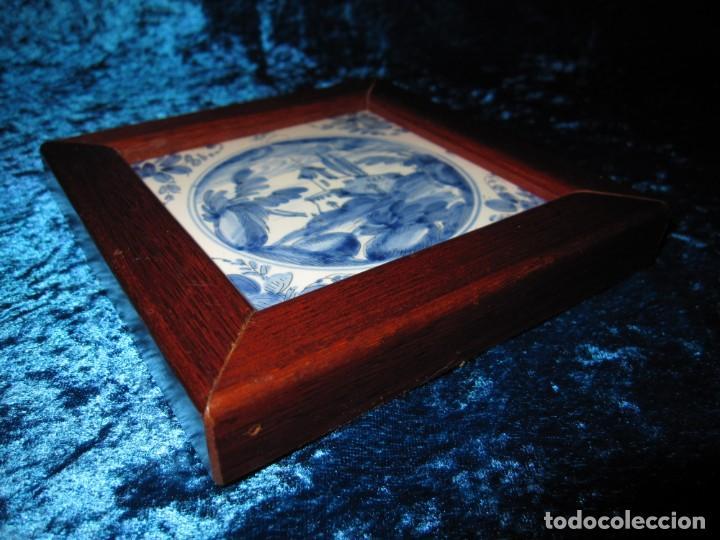 Antigüedades: Azulejo enmarcado paisaje blanco y azul - Foto 11 - 225174495