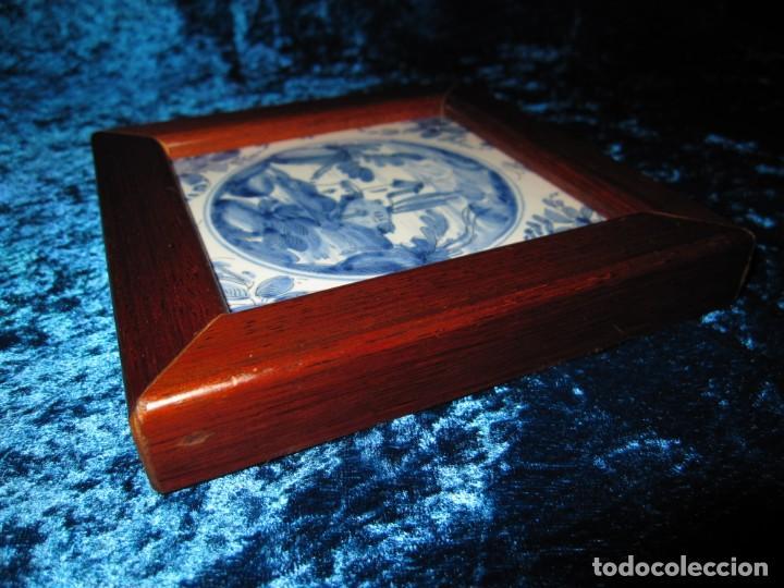 Antigüedades: Azulejo enmarcado paisaje blanco y azul - Foto 12 - 225174495
