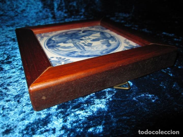 Antigüedades: Azulejo enmarcado paisaje blanco y azul - Foto 13 - 225174495