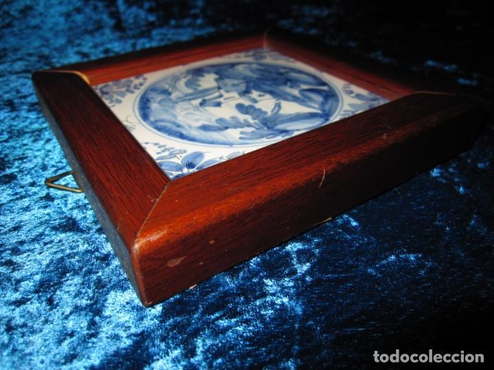 Antigüedades: Azulejo enmarcado paisaje blanco y azul - Foto 14 - 225174495