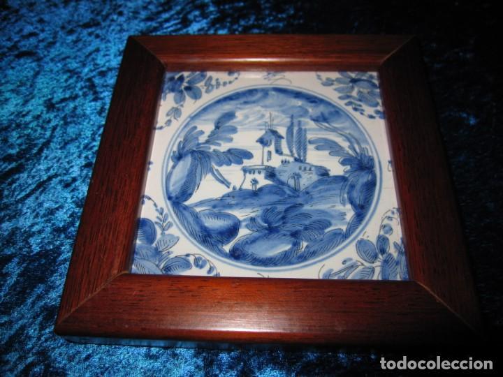 Antigüedades: Azulejo enmarcado paisaje blanco y azul - Foto 15 - 225174495