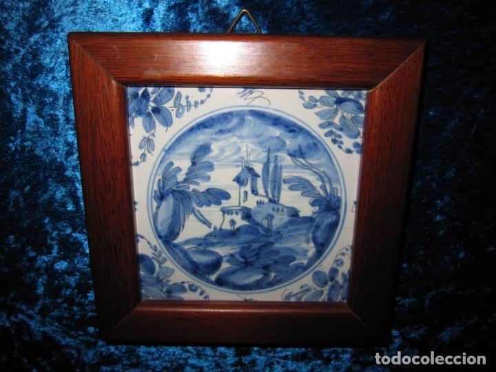 Antigüedades: Azulejo enmarcado paisaje blanco y azul - Foto 16 - 225174495