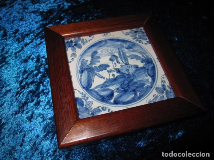 Antigüedades: Azulejo enmarcado paisaje blanco y azul - Foto 17 - 225174495