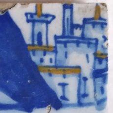 Antigüedades: AZULEJO BALDOSA TALAVERA ( TOLEDO) CON PAISAJE Y CASTILLO PERTENECIENTE A UN PANELSE. XVI. Lote 225230822