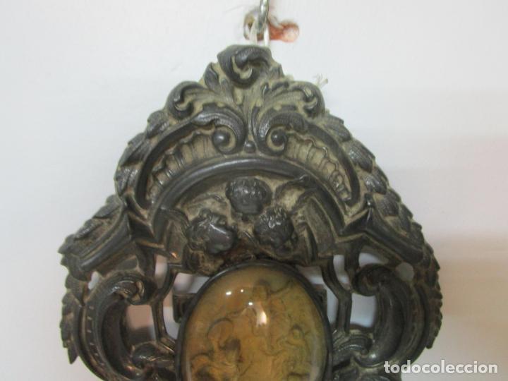 Antigüedades: Preciosa Benditera, Pila - Plata de Ley - con Angelitos - Talla en Espuma de Mar - S. XVIII - Foto 9 - 225249775