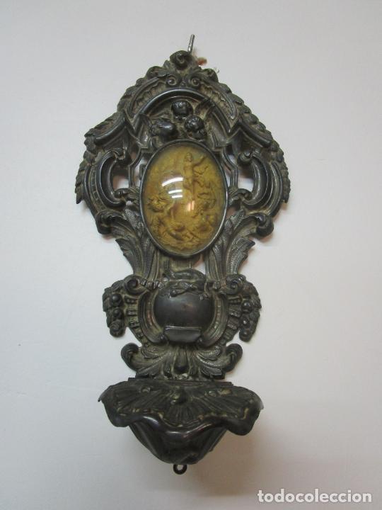 Antigüedades: Preciosa Benditera, Pila - Plata de Ley - con Angelitos - Talla en Espuma de Mar - S. XVIII - Foto 17 - 225249775