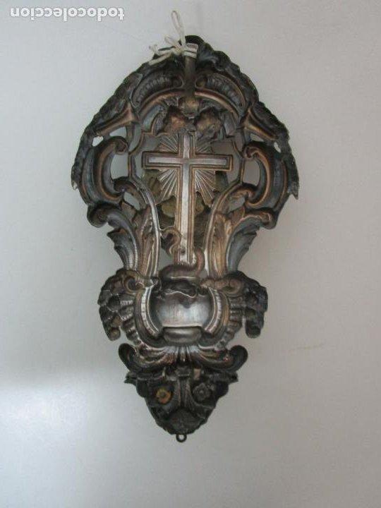 Antigüedades: Preciosa Benditera, Pila - Plata de Ley - con Angelitos - Talla en Espuma de Mar - S. XVIII - Foto 18 - 225249775
