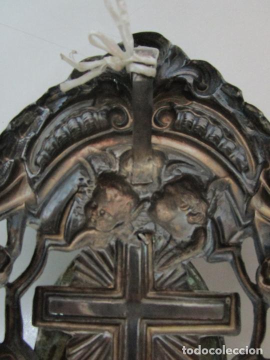 Antigüedades: Preciosa Benditera, Pila - Plata de Ley - con Angelitos - Talla en Espuma de Mar - S. XVIII - Foto 21 - 225249775