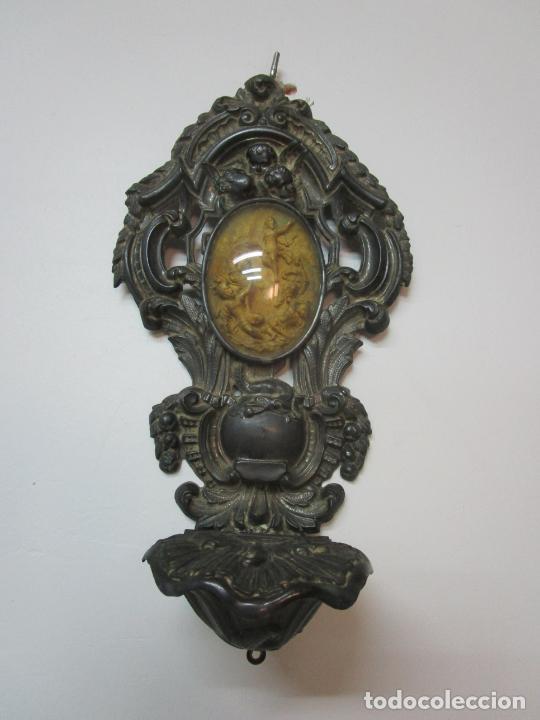 Antigüedades: Preciosa Benditera, Pila - Plata de Ley - con Angelitos - Talla en Espuma de Mar - S. XVIII - Foto 23 - 225249775