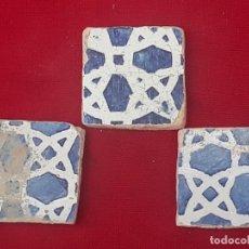 Antigüedades: LOTE DE 3 AZULEJOS ( OLAMBRILLAS ). VALENCIA / MANISES / PATERNA.. Lote 225268280