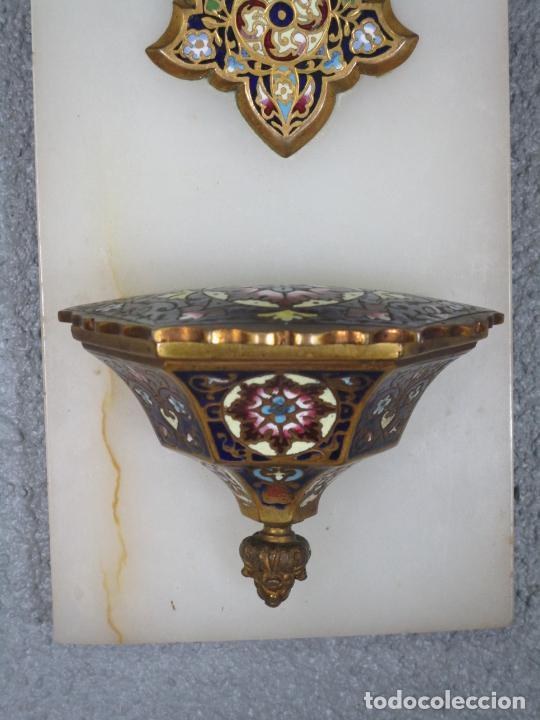 Antigüedades: Bonita Pila Benditera - Mármol - Cruz - Bronce Esmaltado - S. XIX - Foto 2 - 225310345