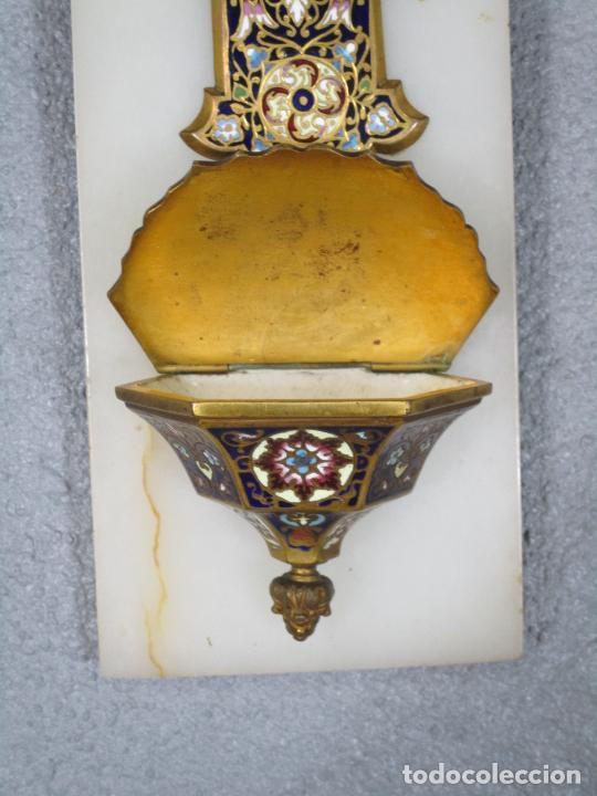 Antigüedades: Bonita Pila Benditera - Mármol - Cruz - Bronce Esmaltado - S. XIX - Foto 4 - 225310345
