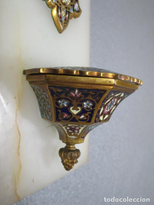 Antigüedades: Bonita Pila Benditera - Mármol - Cruz - Bronce Esmaltado - S. XIX - Foto 7 - 225310345