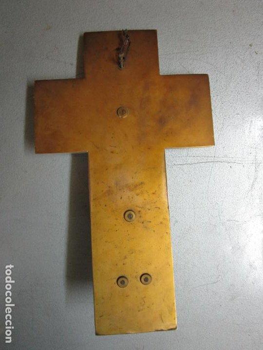 Antigüedades: Bonita Pila Benditera - Mármol - Cruz - Bronce Esmaltado - S. XIX - Foto 9 - 225310345