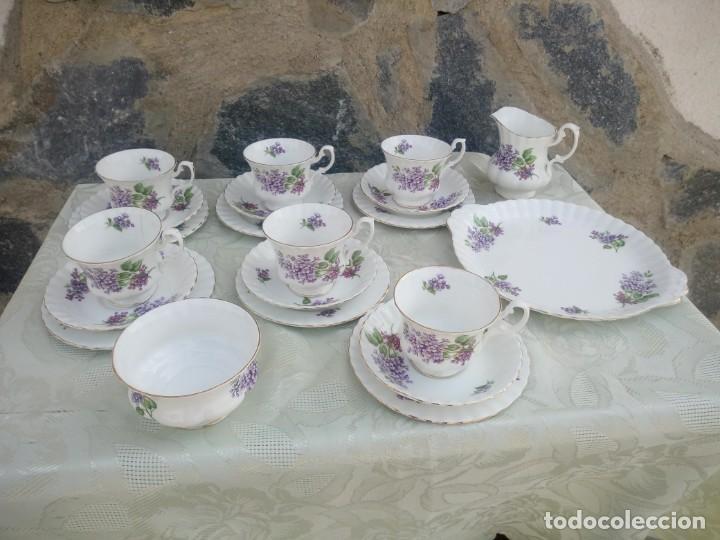 PRECIOSO JUEGO DE TÉ DE PORCELANA RICHMOND BONE CHINA ENGLAND. 21 PIEZAS. (Antigüedades - Porcelanas y Cerámicas - Inglesa, Bristol y Otros)