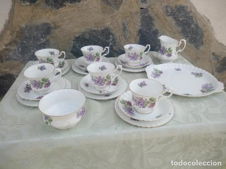 Antigüedades: Precioso juego de té de porcelana richmond bone china england. 21 piezas. - Foto 2 - 225363645