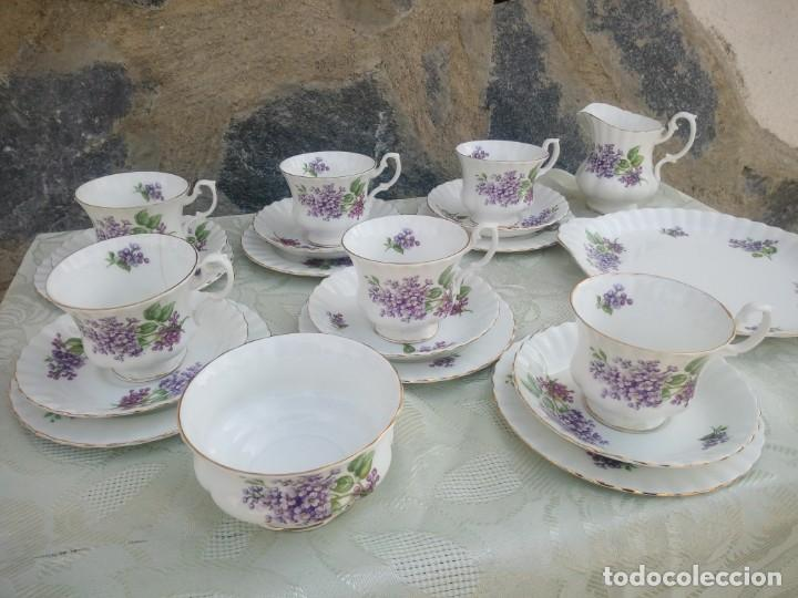 Antigüedades: Precioso juego de té de porcelana richmond bone china england. 21 piezas. - Foto 12 - 225363645
