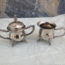 Antigüedades: ANTIGUO AZUCARERO Y LECHERA BAÑADOS EN PLATA. Lote 225364245