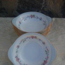 Antigüedades: LOTE DE 8 CUENCOS CON ASA PORCELANA RC JAPAN BLUE GARLAND. Lote 225383450