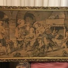 Antigüedades: TAPIZ SIGLO XIX. TIPICA ESCENA DE CANTINA. Lote 225398700