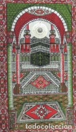 Antigüedades: Alfombra de oración estampada con un mihrab con la Kaaba de la Meca. Con brújula incorporada. - Foto 2 - 225416215