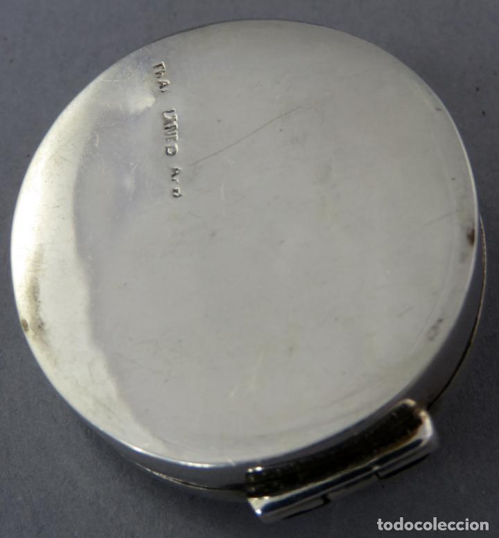 Antigüedades: Caja pastillero de plata decorado con aplicaciones de acero facetado siglo XX - Foto 7 - 225512837
