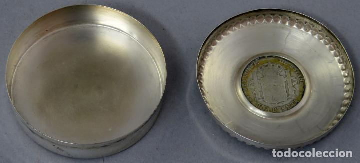 Antigüedades: Caja pastillero de plata con moneda de Alfonso XIII de 1900 siglo XX - Foto 3 - 225514870