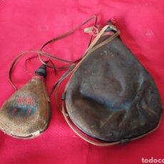 Antigüedades: ANTIGUAS CANTIMPLORAS DE CUERO. Lote 225542440