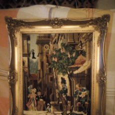 Antigüedades: PRECIOSO CUADRO ,MARCO DE MADERA PINTADO EN DORADO ROCOCÓ Y TAPIZ HECHO EN PUNTO DE CRUZ. Lote 225565548