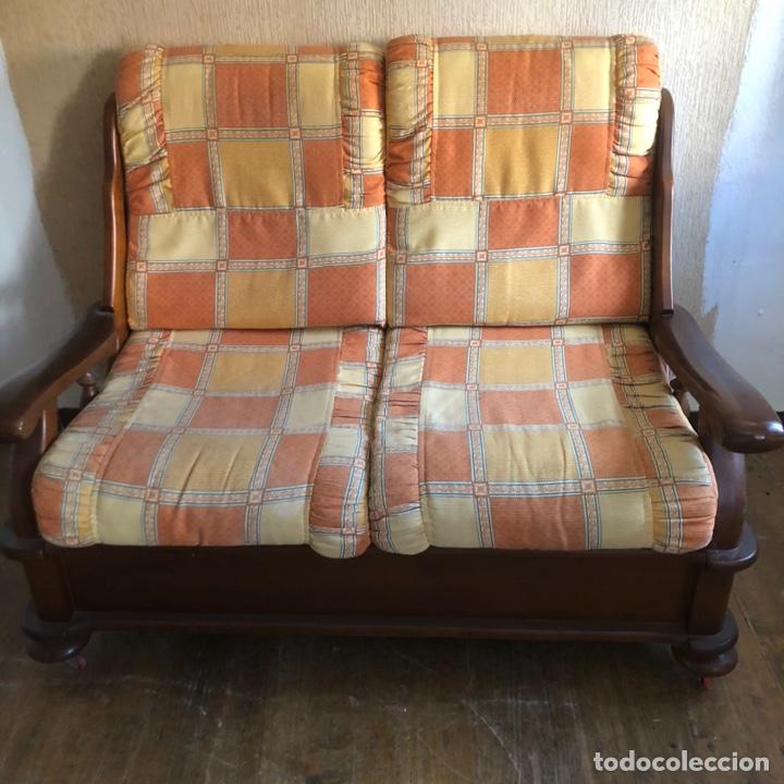 Antigüedades: Sofá de madera dos plazas . - Foto 2 - 225576535