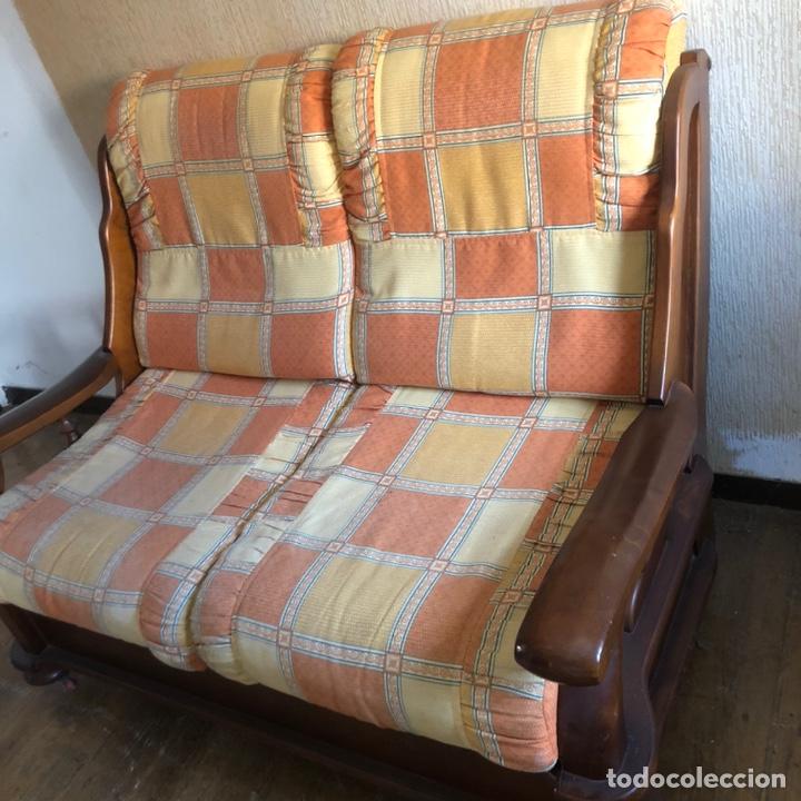 Antigüedades: Sofá de madera dos plazas . - Foto 4 - 225576535