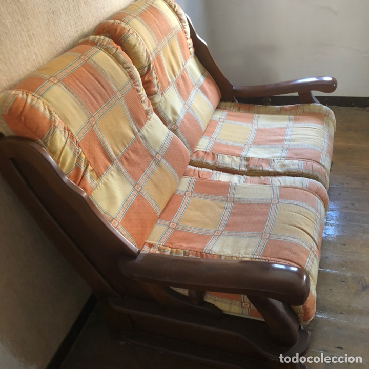 Antigüedades: Sofá de madera dos plazas . - Foto 6 - 225576535