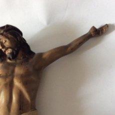 Antigüedades: OLOT,CRISTO DE OLOT EN TERRACOTA POLICROMADA,31 CM ALTURA ,. Lote 225583475