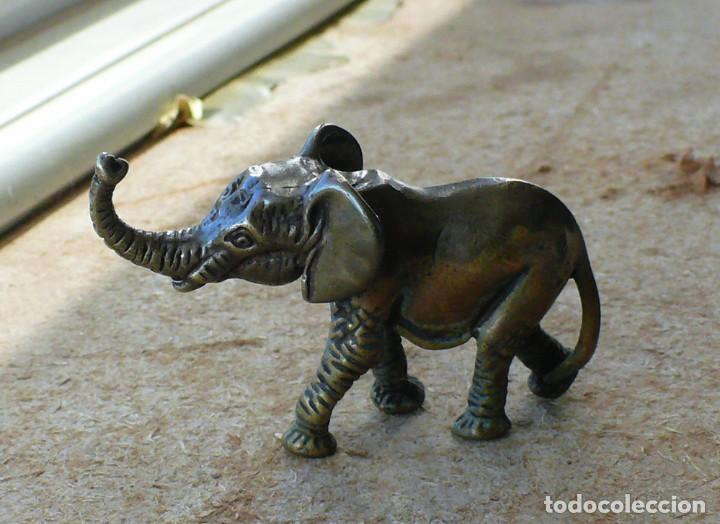 Antigüedades: escultura en miniatura. bronce .elefante - Foto 3 - 225736807