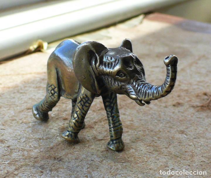 Antigüedades: escultura en miniatura. bronce .elefante - Foto 4 - 225736807