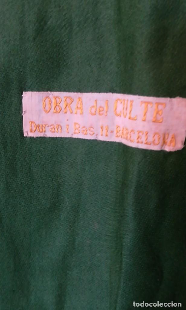 Antigüedades: Casulla damasquinada bordado JHS con etiqueta del fabricante - Foto 22 - 225765535