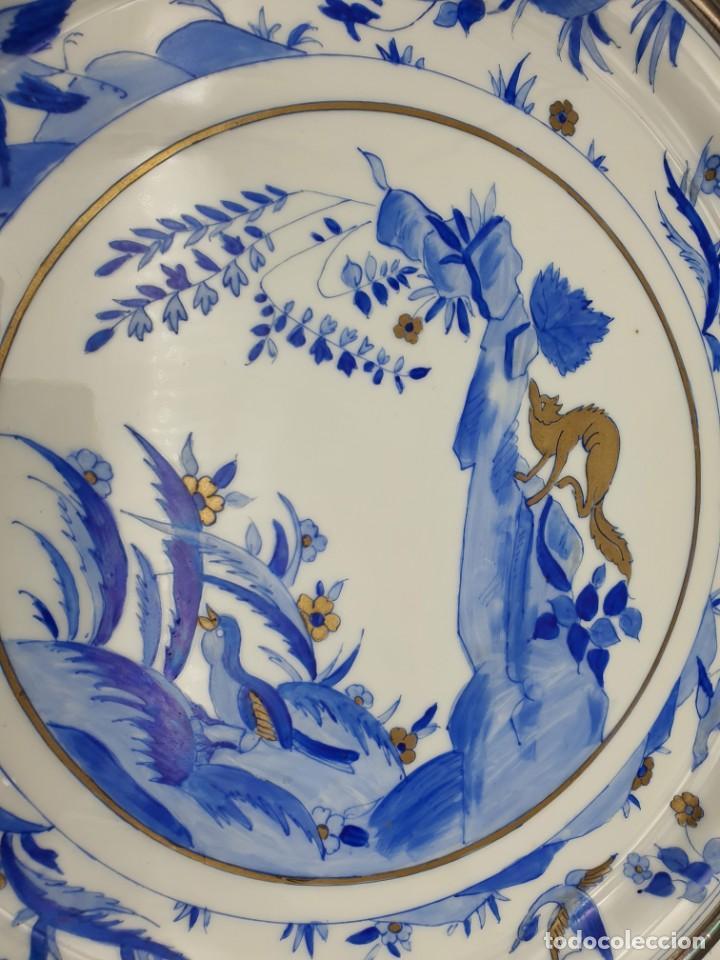 Antigüedades: EXTRAORDINÁRIA BANDEJA ANTIGUA FRANCESA PINTADA A MANO ( TIPO CHINO ) VER FOTOS Y DESCRIPCIÓN - Foto 6 - 225793103