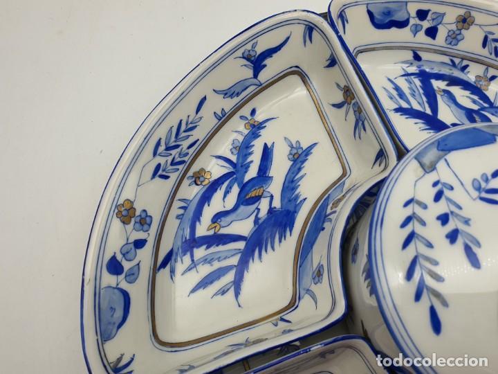 Antigüedades: EXTRAORDINÁRIA BANDEJA ANTIGUA FRANCESA PINTADA A MANO ( TIPO CHINO ) VER FOTOS Y DESCRIPCIÓN - Foto 15 - 225793103