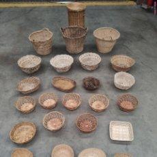 Antigüedades: LOTE DE 28 CESTOS Y CESTAS DE MIMBRE. Lote 225802330