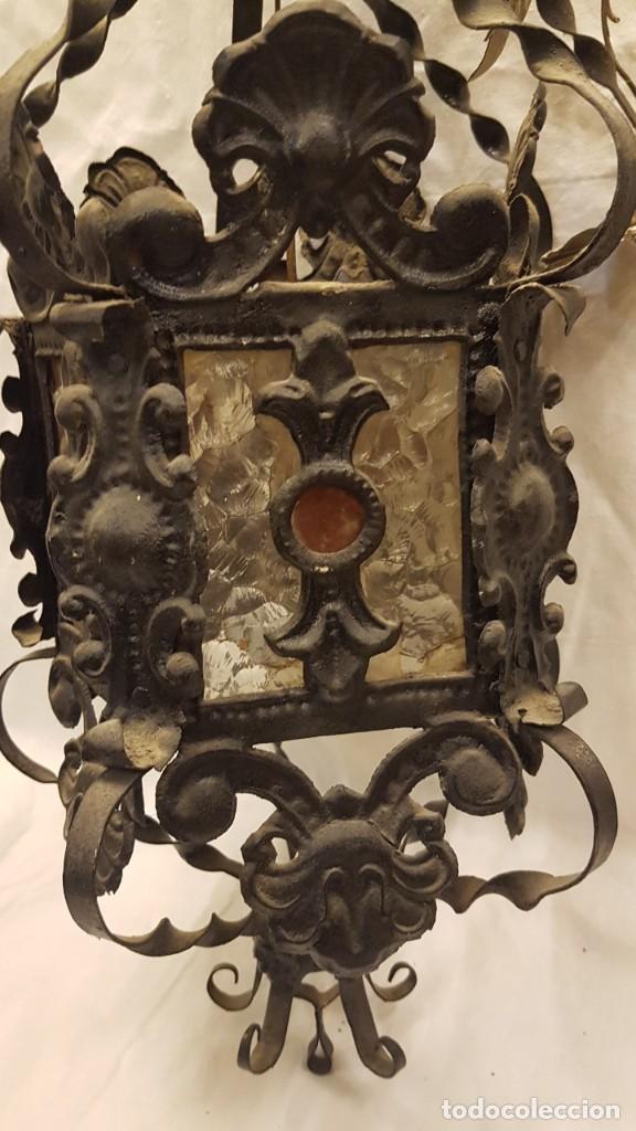 Antigüedades: FAROL MODERNISTA DE HIERRO ALTURA CON CADENA 80 CMTS - Foto 2 - 225803675