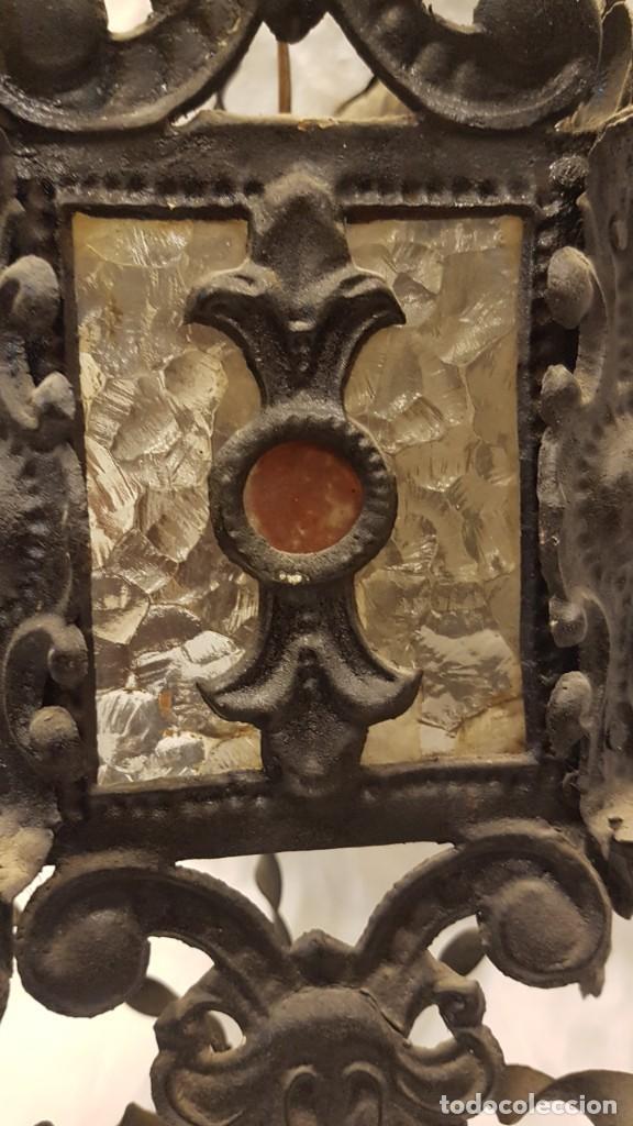 Antigüedades: FAROL MODERNISTA DE HIERRO ALTURA CON CADENA 80 CMTS - Foto 4 - 225803675