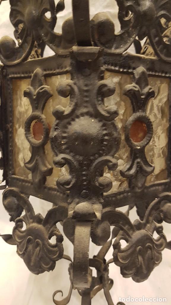 Antigüedades: FAROL MODERNISTA DE HIERRO ALTURA CON CADENA 80 CMTS - Foto 5 - 225803675