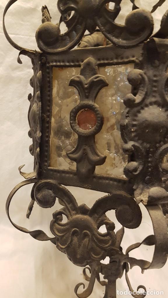 Antigüedades: FAROL MODERNISTA DE HIERRO ALTURA CON CADENA 80 CMTS - Foto 6 - 225803675