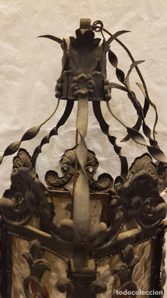Antigüedades: FAROL MODERNISTA DE HIERRO ALTURA CON CADENA 80 CMTS - Foto 7 - 225803675