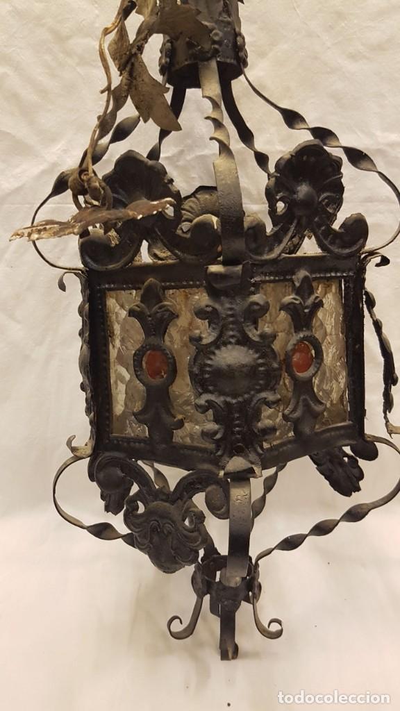 Antigüedades: FAROL MODERNISTA DE HIERRO ALTURA CON CADENA 80 CMTS - Foto 8 - 225803675